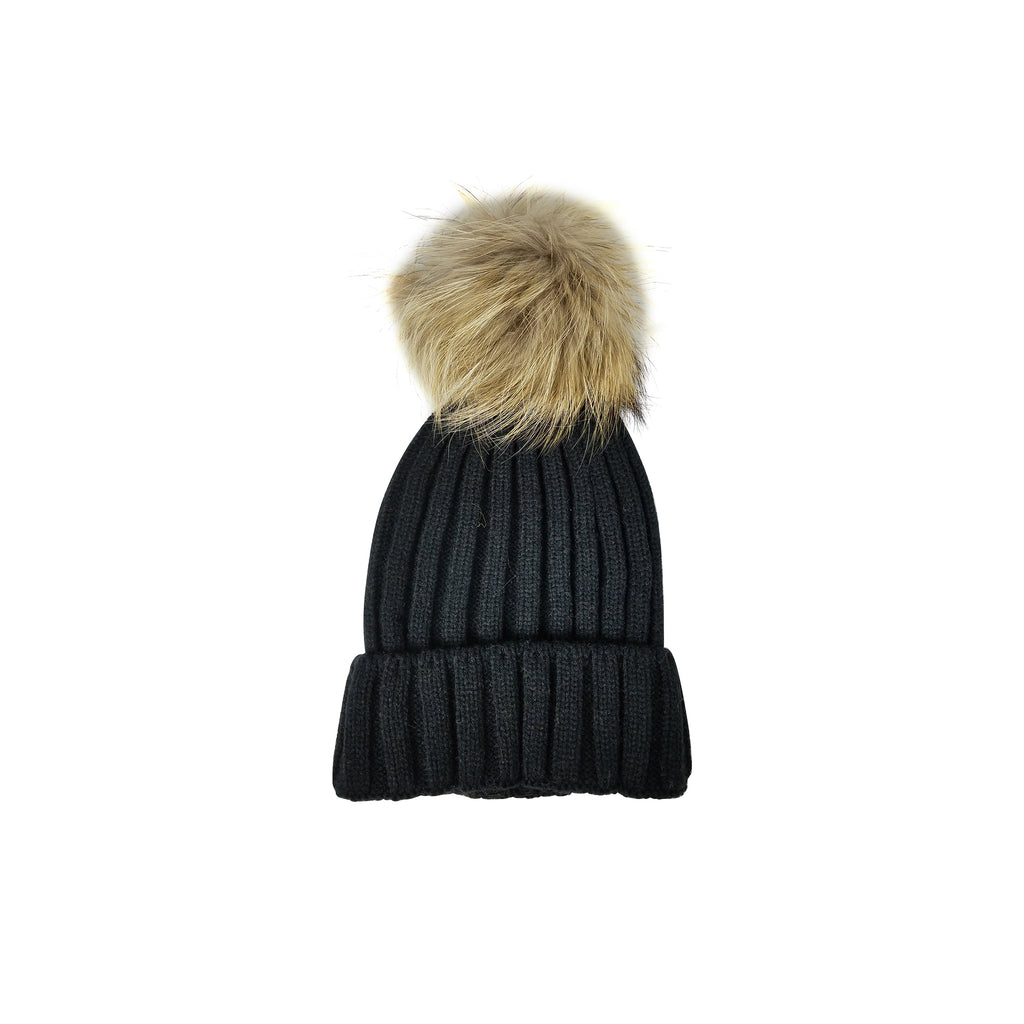 Kids Beanie with Real Fur Pom