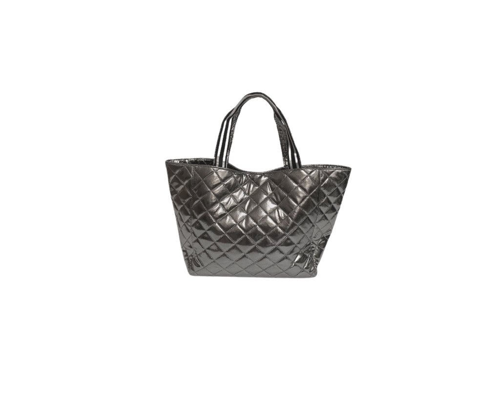 Quilted Tote With Stripe Handle
