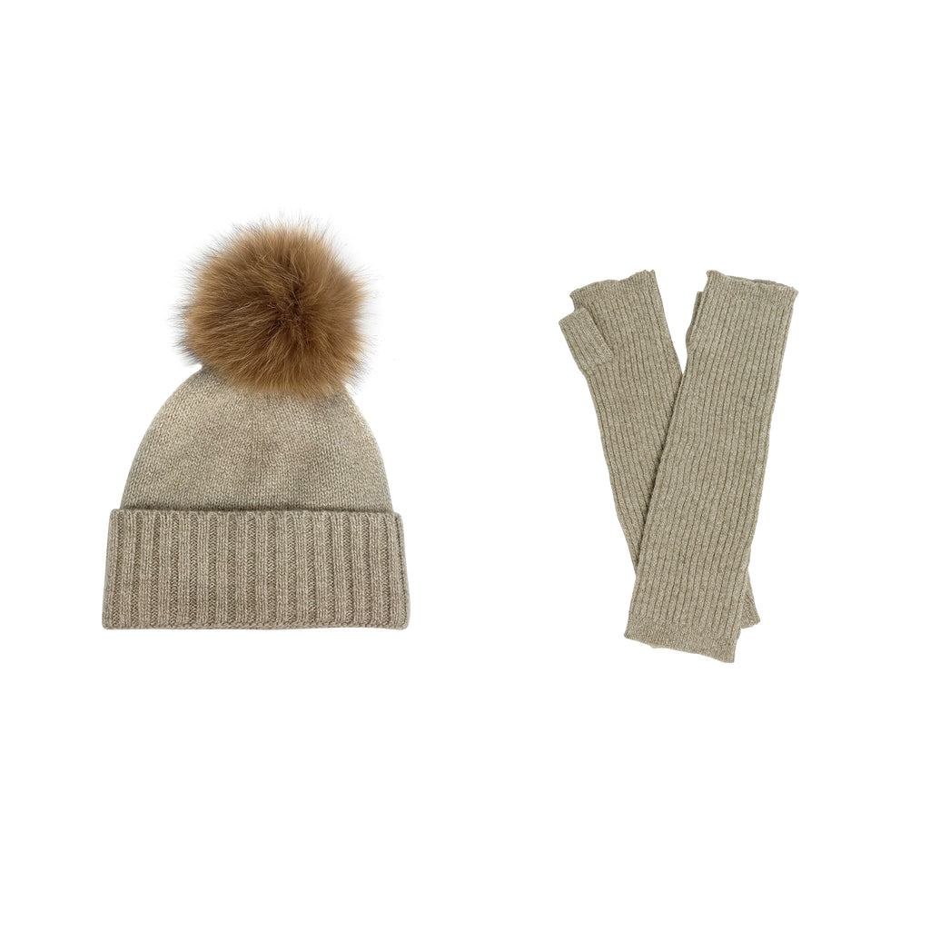 Cashmere Slouchy Cuff Hat and Armwarmer Set