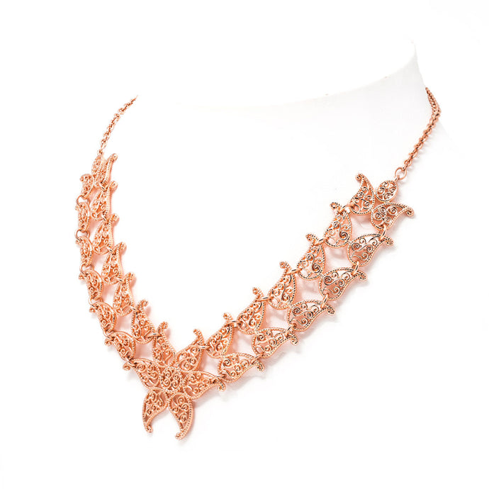 Leaf Convertible Choker Necklace, Adjustable Necklace in Rose Gold toned Blush Silver