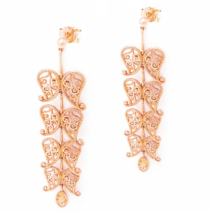 Leaf Cascade earrings with henna motifs inspired design, Cascade earrings with rose-gold toned blush silver