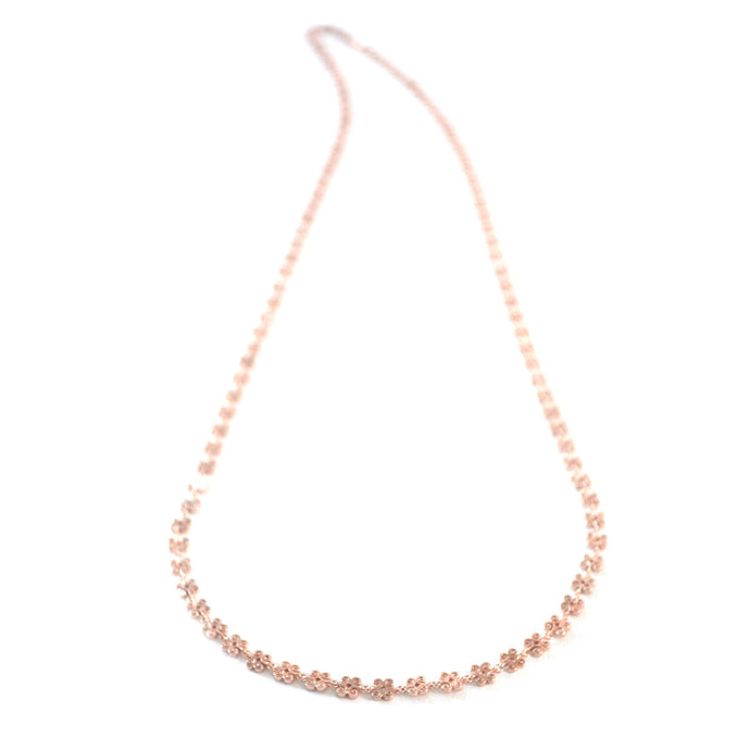 Simple Butterfly long chain necklace in rose-gold toned blush silver