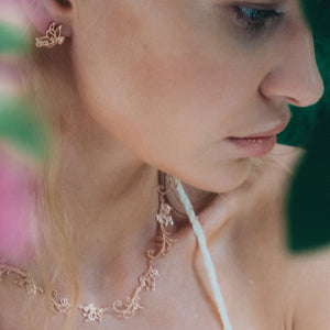 Model is wearing Baby B, Butterfly Necklace 16 inches rose gold-tone