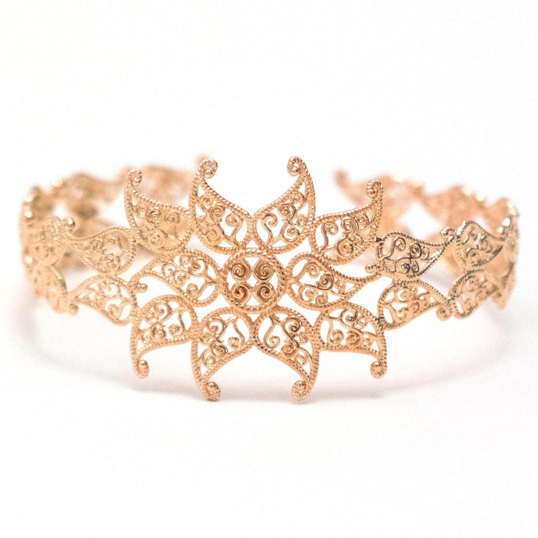 Leaf Cuff Bracelet in warm rose gold tone, Adjustable rose-gold toned cuff bracelet