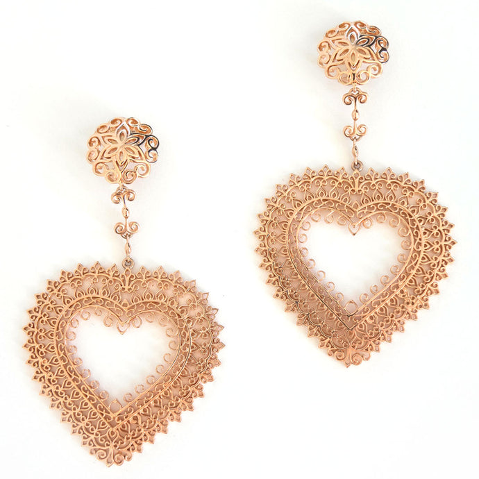 Heart Statement dangling earrings with button style stud; Lightweight statement rose-gold toned earrings