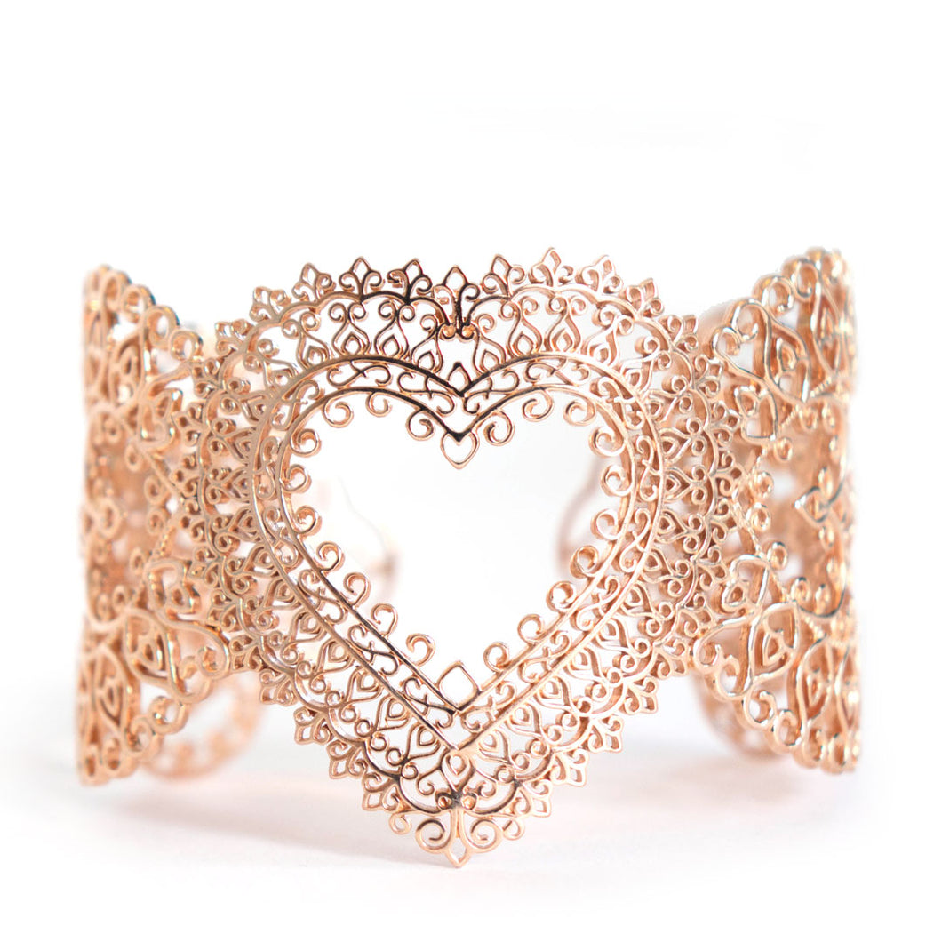 Heart Cuff bracelet with ornate heart design in rose-gold toned blush silver, heart cuff bracelet