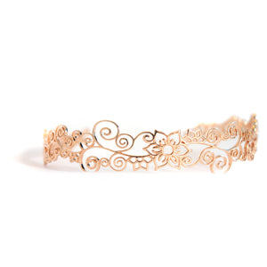 Henna-inspired, tiara-like Flower headband in rose-gold toned blush silver