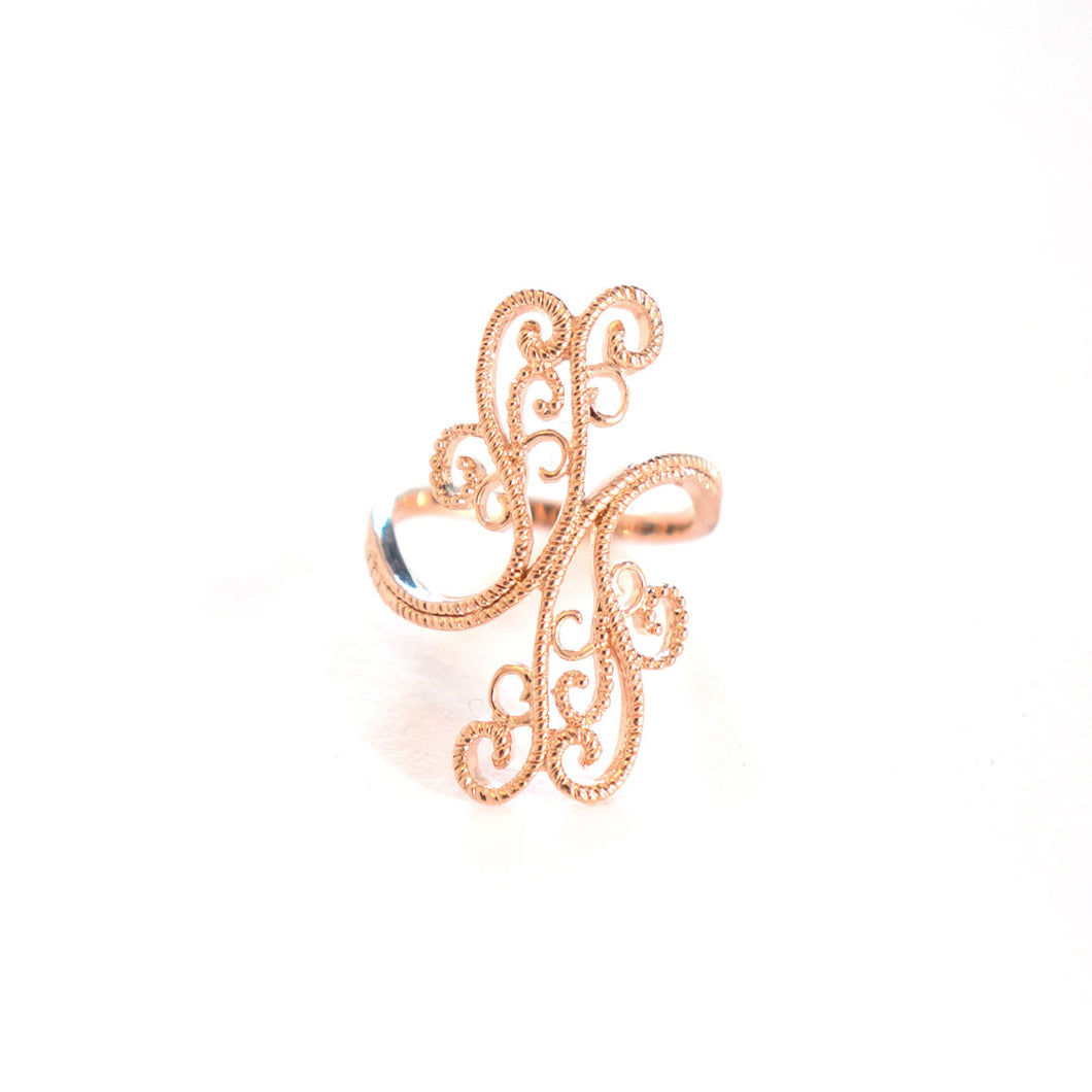 Swirl Cocktail Ring inspired by henna design, rose-gold tined blush silver cocktail ring