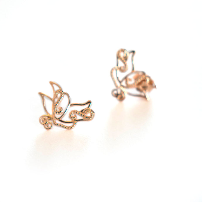 Light weight butterfly Baby B stud earrings in rose-gold toned blush silver, Rose gold stud earrings