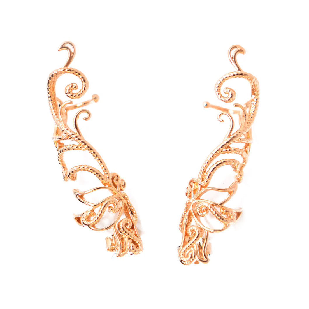 Baby B Climber Earrings with stud backs in rose gold toned blush silver