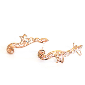 Angel Climber Earrings, stud backs in rose gold tone blush silver