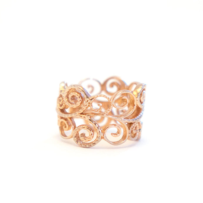 Flower Infinity Ring Edition 2 with textured tendrils and vine designs in rose-gold toned blush silver, Infinity ring