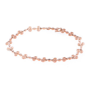 Heart Bracelet with subtle heart design on links in rose-gold toned blush silver