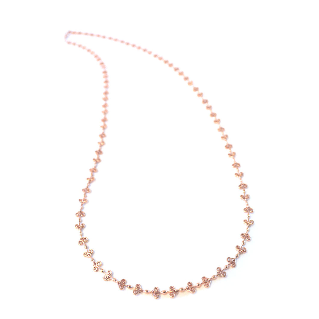 Heart Long chain necklace with simple heart designs in rose-gold toned blush silver