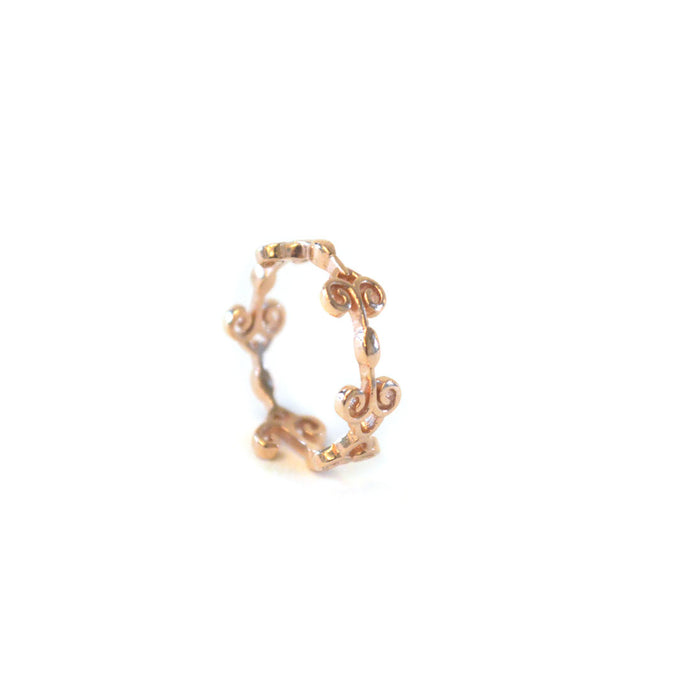 Heart Band Edition 1 Ring with rose-gold toned blush silver dainty swirl details