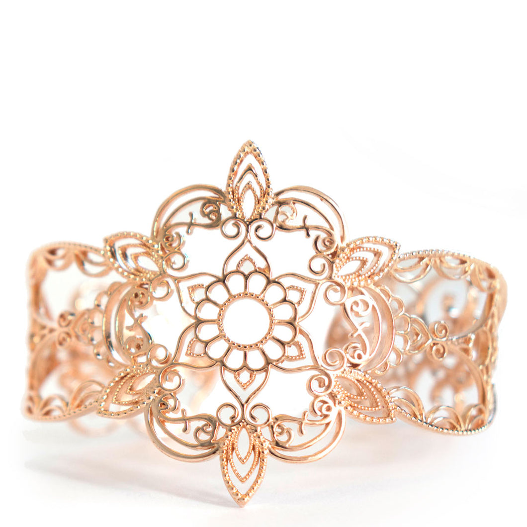 Star Cuff Bracelet with floral and henna inspired design in rose gold toned blush silver, Rose-gold cuff bracelet
