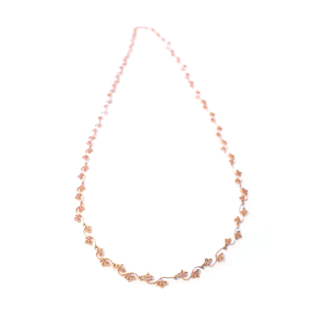 Trillium long chain necklace in rose-gold toned blush silver, simple long chain necklace