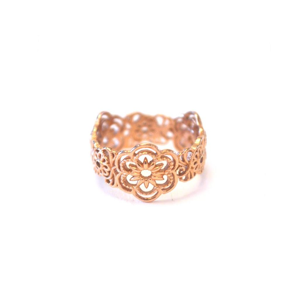 Origin Infinity Band ring with floral design in rose-gold toned blush silver, Floral design ring