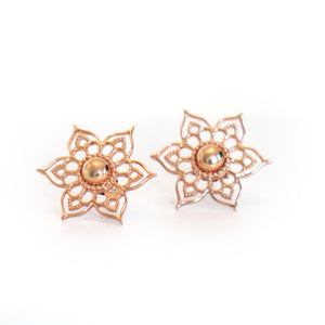 Star Stud Earrings, Rose-gold toned blush silver stud earrings