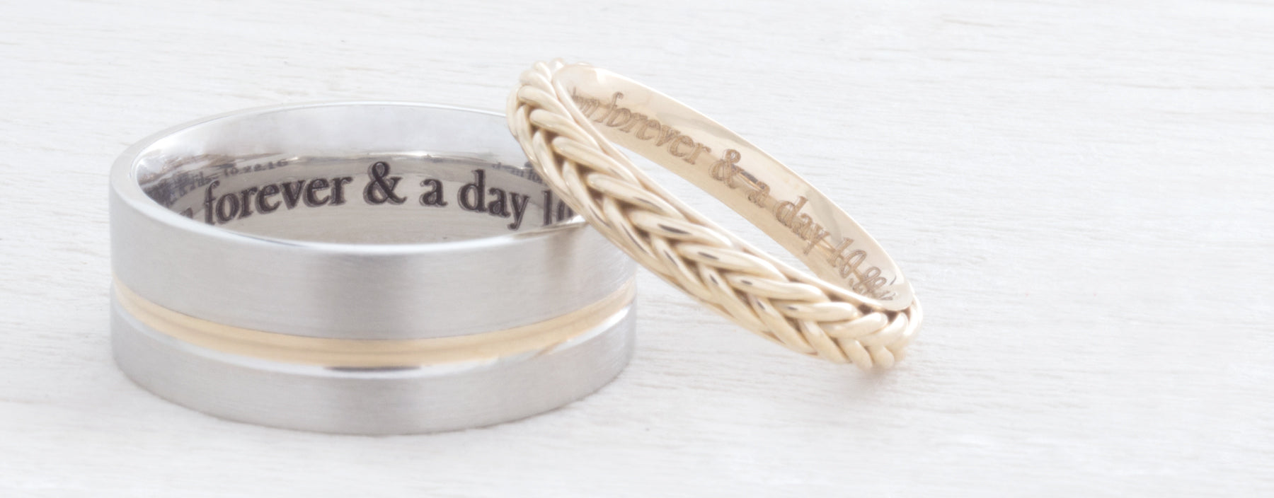 Engraved Yellow Gold Wedding Bands