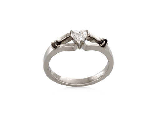 Heart Shaped Diamond White Gold Engagement Ring with Moon Rock Meteorites