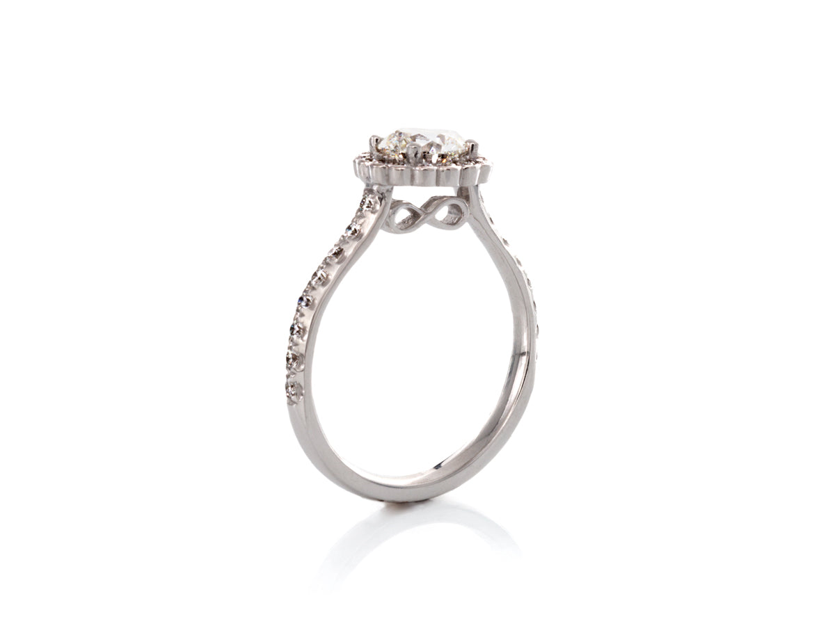 Floral Halo Infinity Diamond Engagement ring