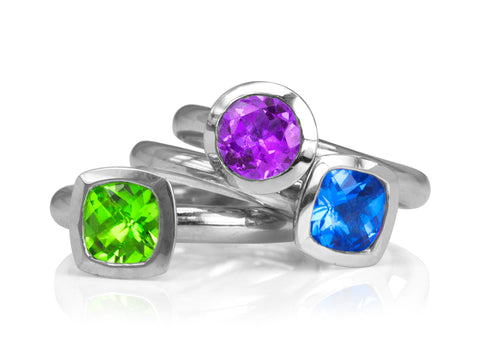 Stacking Ruby Sapphire Diamond Rings