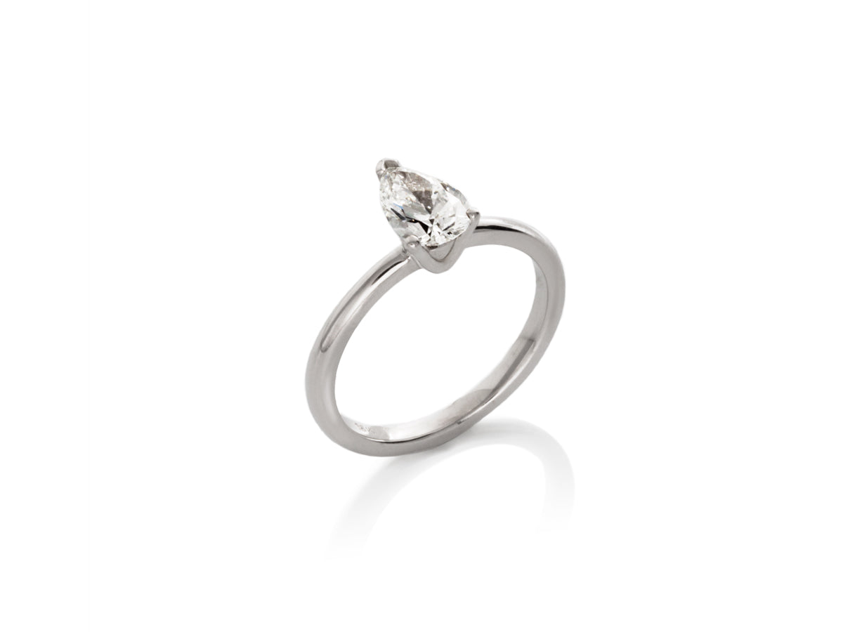 Pear-shaped Diamond Solitaire Engagement Ring
