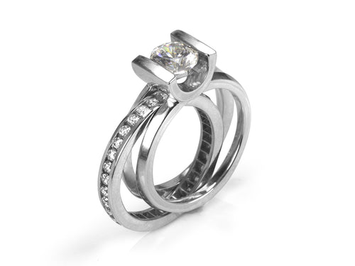Pamela Lauz Jewellery - Crescent Interlocking Diamond Wedding Rings