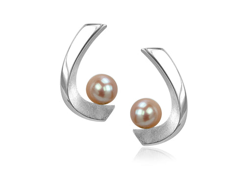 Pamela Lauz  - Aqua Pink Pearl Curved Stud Earrings
