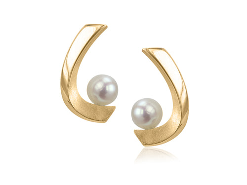 Pamela Lauz - Aqua White Pearl Curved Stud Gold Earrings