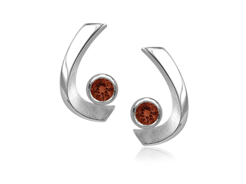 Pamela Lauz - Aqua Garnet Curved Stud Earrings