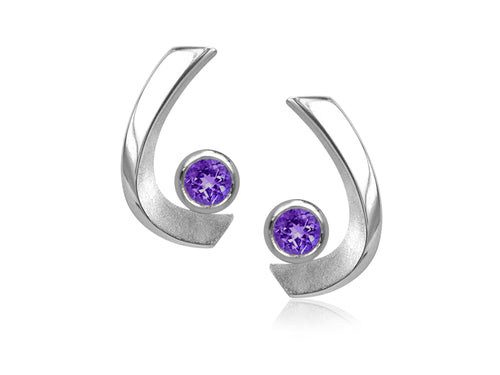 Pamela Lauz - Aqua Small Amethyst Curved Stud Earrings