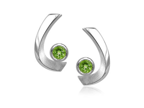 Pamela Lauz - Aqua Peridot Curved Stud Earrings