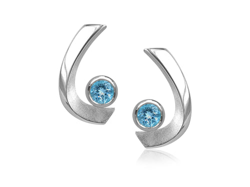 Pamela Lauz - Aqua Blue Topaz Curved Stud Earrings