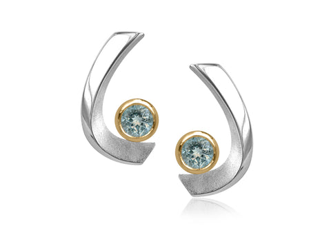 Aqua White Pearl Curved Stud Gold Earrings