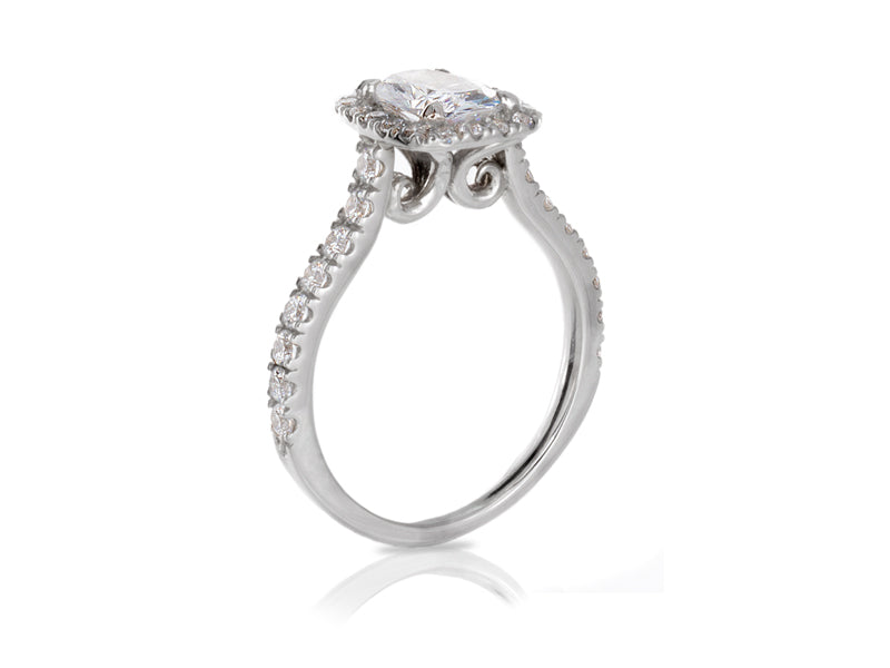 Pamela Lauz Jewellery - Scroll Diamond Halo Wedding Rings