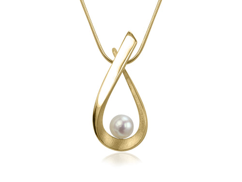 Pamela Lauz Jewellery - Aqua Medium White Pearl Gold Pendant