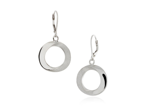 Pamela Lauz - Infinity Medium  Open Circle Silver Drop Earrings