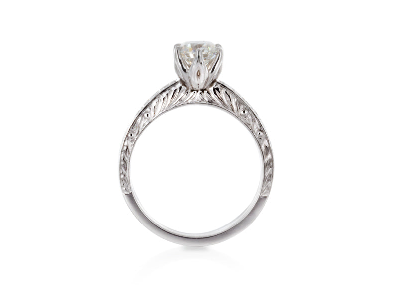 Pamela Lauz Jewellery - Hand-Engraved Diamond Engagement Ring