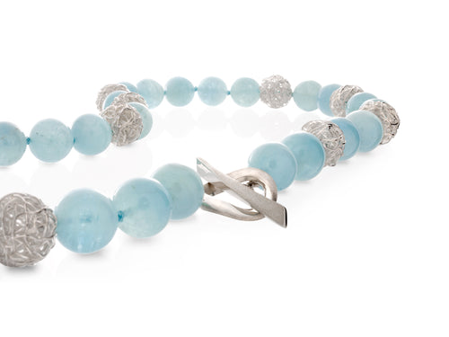 Pamela Lauz Infinity Aquamarine Necklace With Silver Balls
