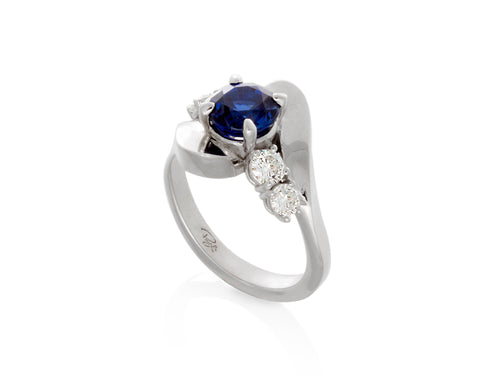 Pamela Lauz Jewellery - Wave Sapphire and Diamond Ring