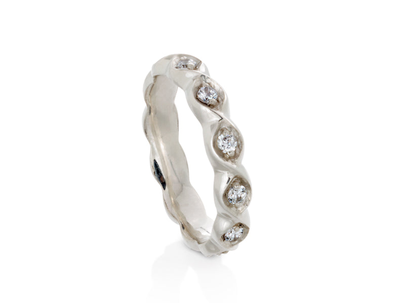 Pamela Lauz Jewellery - Rosette Double Scroll Diamond Eternity Band