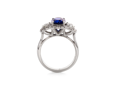 Three stone Diamond Sapphire Halo Engagement Ring