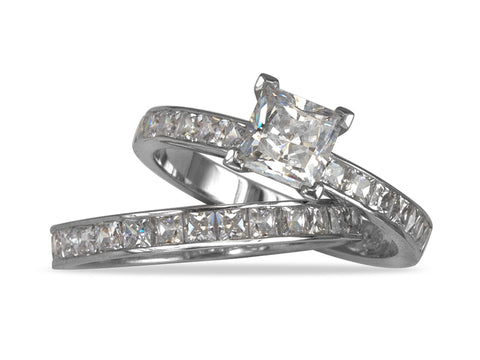 Surface Engagement Ring and Wedding Band