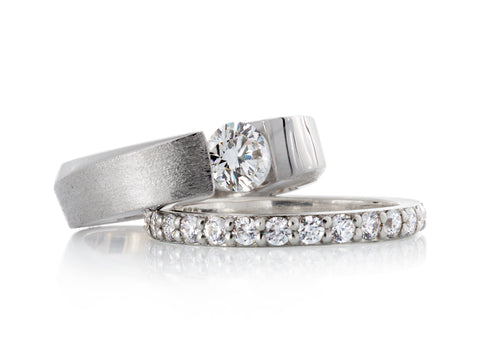 Scroll Diamond Halo Wedding Rings