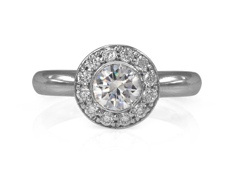 Floral Halo Diamond Engagement Ring with Infinity Symbol