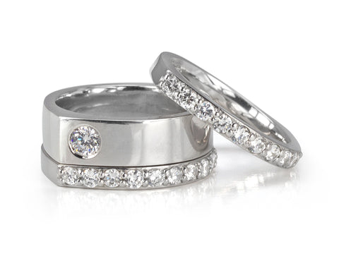 Princess-cut Diamond Nesting Wedding Rings