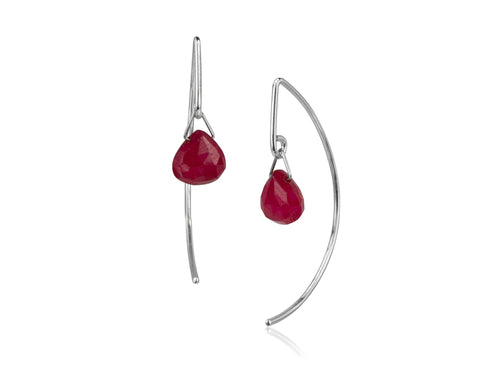 Pamela Lauz - Lantern Ruby Simple Dangle Earrings  - Silver