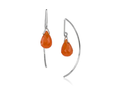 Pamela Lauz - Lantern Carnelian Simple Dangle Earrings  - Silver